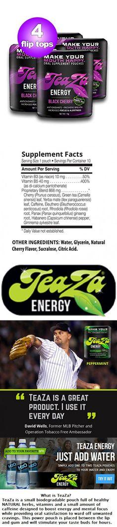 Teaza Black Cherry Herbal Energy Pouch Flip Top 4 Pack