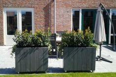 houten bloembakken, grijs met wielen (97cmx30cmx75cm) € 47,50 (diverse maten/kleuren mogelijk)