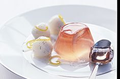 For a pretty end to any meal day or night try these champagne jellies paired with fresh lychees.