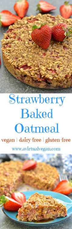 This strawberry baked oatmeal is the perfect no fuss make ahead breakfast. Quick, easy, healthy & full of sweet strawberry & vanilla flavour!
