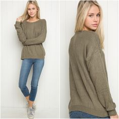 """Olive sweater NEW Brand new, never worn/washed. Soft cable knit pullover sweater in olive green. 70% cotton, 30% acrylic // 24"""" length, 21"""" bust (MODEL is 5'9"""" with a 25"""" waist). Made In Italy. Brandy Melville Sweaters"""