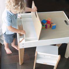 Pkolino | Little Modern kids Table and Chairs | White | PKFFMTCWH