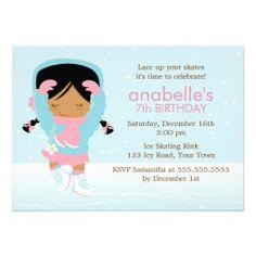 Cute Figure Skater Birthday Party Invitations