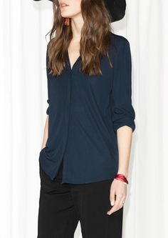 & Other Stories | Buttoned Blouse | Dark Blue