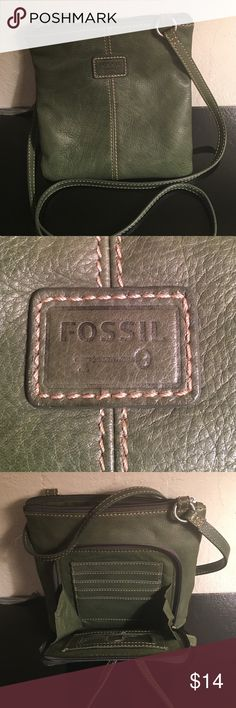FOSSIL CROSSBODY LEATHER BAG 8 by 8 PREOWNED WITH SOME COSMETIC STAINS. LEATHER GOOD FOSSIL Bags Crossbody Bags