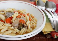 Chicken and Cavatelli Soup -  This dish is somewhere between a soup and a stew, the flavors reminiscent of my Dad's chicken and dumplings I grew up eating.