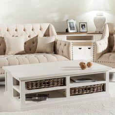 Stolik kawowy Chester z koszami rattanowymi 125x75x40cm white, 125x75x40cm - Dekoria #white #meble #biale #furniture #stolik #interior #idea #design