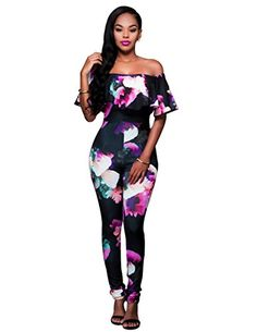 Sophia17 Women Plus Size Ruffle Off Shoulder Floral Print Long Jumpsuit Romper Black XXL *** Details can be found by clicking on the image.