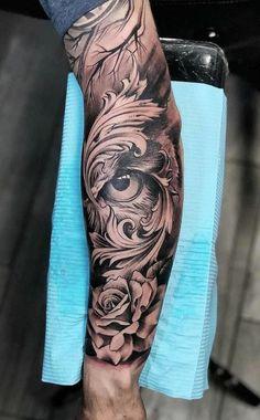Left Arm Tattoos, Forarm Tattoos, Forearm Sleeve Tattoos, Best Sleeve Tattoos, Head Tattoos, Badass Tattoos, Rose Tattoos For Men, Hand Tattoos For Guys, Black And Grey Tattoos For Men