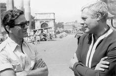 Pier Paolo Pasolini e Marcello Mastroianni - clic sulla foto per leggere «A Pier Paolo Pasolini» (di Dario Bellezza)
