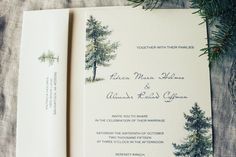 Woodland Wedding Invitation Vintage Pine Tree Wedding Forest Wedding Rustic Wedding DIY Or Ship on Etsy, $50.00