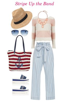 Stripe Up the Band by frenchtouchimage on Polyvore featuring Vero Moda, Frame Denim, STELLA McCARTNEY, Lilac & Black, Christian Dior, Kendra Scott and Gottex