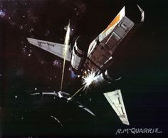Cylon Raider chasing Colonial Viper, Battlestar Galactica by Ralph McQuarrie