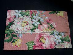 Floral Lingerie Bag Case 1940 - 1950s Vintage Cotton Fabric Pink Large Flowers…