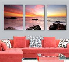 3 Piece Free Shipping Hot Sale Modern Wall Painting sunrise Affectionate sea  Home Decorative Art Picture Paint on Canvas Prints $25.98