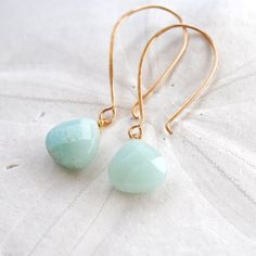 Amazonite Earrings. Handmade Hammered Ear WIres. Edisto Collection. Bridesmaids Earrings. $32