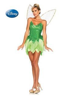 Women's Peter Pan's Pixie Dust Tinker Bell Disney Costume | Sexy Fairytale Halloween Costumes