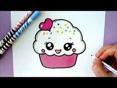 unicorn drawing easy step by step . unicorn drawing easy for kids . Cute Kawaii Drawings, Love Drawings, Kawaii Cute, Cartoon Drawings, Cute Cupcake Drawing, Images Kawaii, Unicorn Drawing, Easy Drawings For Kids, Doodles