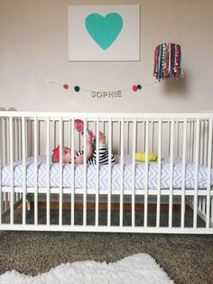 Eclectic, quirky nursery - love the colors!