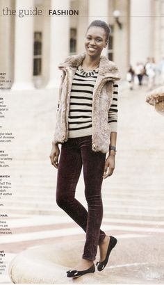 Furry Vest and Flats