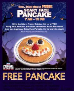 FREE SCARY FACE PANCAKE FOR KIDS ON HALLOWEEN AT IHOP - STACKING COINS SAVING MONEY SCSM #Freebies #FreeForKids #FreeBreakfast #FreeFood #FreeOnhalloween #Scary #Face #ScaryFace #FreePancakes #IHOP #FreeStuff #StackingCoins #SavingMoney #SCSM