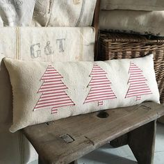 Farmhouse Christmas Pillow/ Vintage grain sack pillow/ bolster