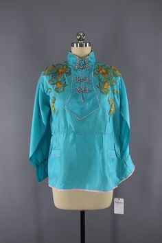 Vintage 1950s Embroidered Blue Satin Dragon Pajama Top