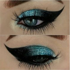 silver to black winged cut crease cat eye with glitter | makeup @loismua