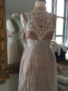 Vintage inspired wedding rose colored fairy dresses by RAWRAGSbyPK