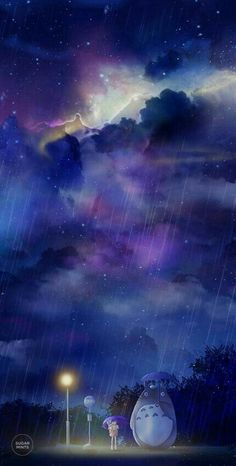 My Neighbor Totoro, raining, umbrella, bus stop, starry sky, night; Studio Ghibli