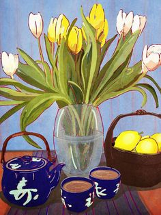 I took a little time to slow down and do this tulips & tea still life on my ipad I love how it turned out!