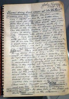 Jack Kerouac's journal for the first stages of 'On The Road'