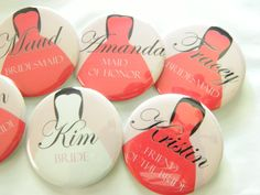Wedding Party Buttons -Bridesmaid Dresses, Any Titles, Any Color - Coral,  Bachelorette Party,  Flower Girl, Mother of the Bride