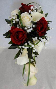 Bouquet de mariée avec roses rouges et gypsophile - vente de fleurs artificielles.