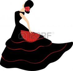 Danseuse de flamenco. Jeune fille espagnole avec ventilateur danse un flamenco, illustration vectorielle Banque d'images