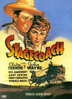 Stagecoach, 1939 - American Western film directed by John Ford, starring Claire Trevor and John Wayne in his breakthrough role. Old Movie Posters, Classic Movie Posters, Classic Movies, Retro Posters, Old Movies, Vintage Movies, Film Movie, John Carradine, Entertainment