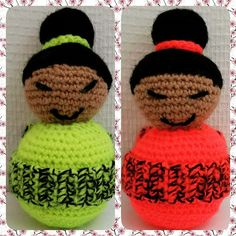 #amigurumi #crochet #geisha #kokeshidoll #handmade #neoncolour