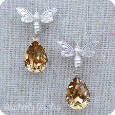 Swarovski Crystal Light Colorado Topaz Pale Amber Faux Honey Teardrop Matte Silver or Gold Honey Bumble Bee Dangling Drop Tear Earrings by HeatherlyDesigns on Etsy