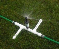 A Three Head Sprinkler for Odd Lawns : 9 Steps - Instructables Pvc Pipe Sprinkler, Lawn Sprinkler System, Sprinkler Heads, Water Sprinkler, Pvc Pipes, Sprinkler System Design, Homemade Sprinkler, Backyard Shade, Shade Garden