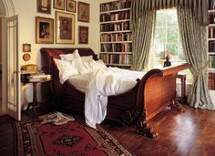 love this room, sleeping with books We used to import this exact sleigh bed...the prettiest one I've seen, in my opinion!