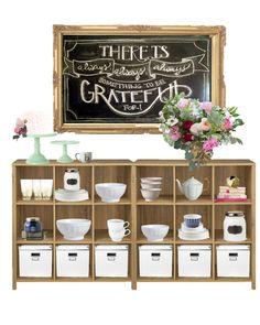 dining room sideboard, Chalkboard, mint green cake plates, floral arrangement, dining room storage, gingham navy bowls, pink and navy, floral arrangement, pink and gold decor