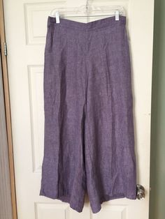 Flax 100% Linen Wide Leg Purple Made in Lithuania Elastic Waist Crop Pants - S #Flax #CasualPants