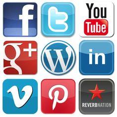 Social Media Logos from Facebook, Twitter, YouTube, Google Plus, Wordpress, LinkedIn and Pinterest