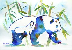 Whimsical Watercolor Painting - Panda Bear With Stars In Blue by Jo Lynch Panda Painting, Blue Painting, Bear Paintings, Watercolor Paintings, Panda Nursery, Panda Art, Artsy Photos, Easy Watercolor, Book Images