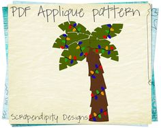 Christmas Applique Template - Palm Tree Applique Pattern / Florida Christmas Applique / Summer Holiday Quilt / Palm Tree with Lights by ScrapendipityDesigns, $2.50
