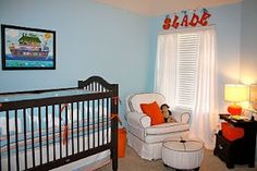 blue and orange nursery | orange and blue nursery | Baby