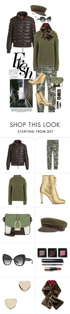 """Wrapper's Delight: Winter Scarf"" by shortyluv718 ❤ liked on Polyvore featuring Parajumpers, J.Crew, Boutique Moschino, Jimmy Choo, LA MARTINA, Brixton, Dolce&Gabbana, Bobbi Brown Cosmetics, Shashi and DUBARRY"