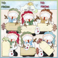 Snowguys Tags 1 - NE Cheryl Seslar Clip Art - Click Image to Close