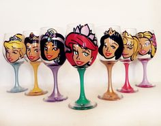 disney Princess Wine glasses   pearls and by ocglassware on Etsy, $168.00