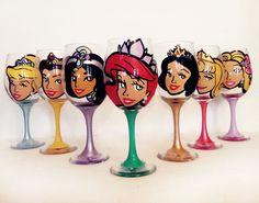 Disney Princess Wine glasses featuring pearls and rhinestones